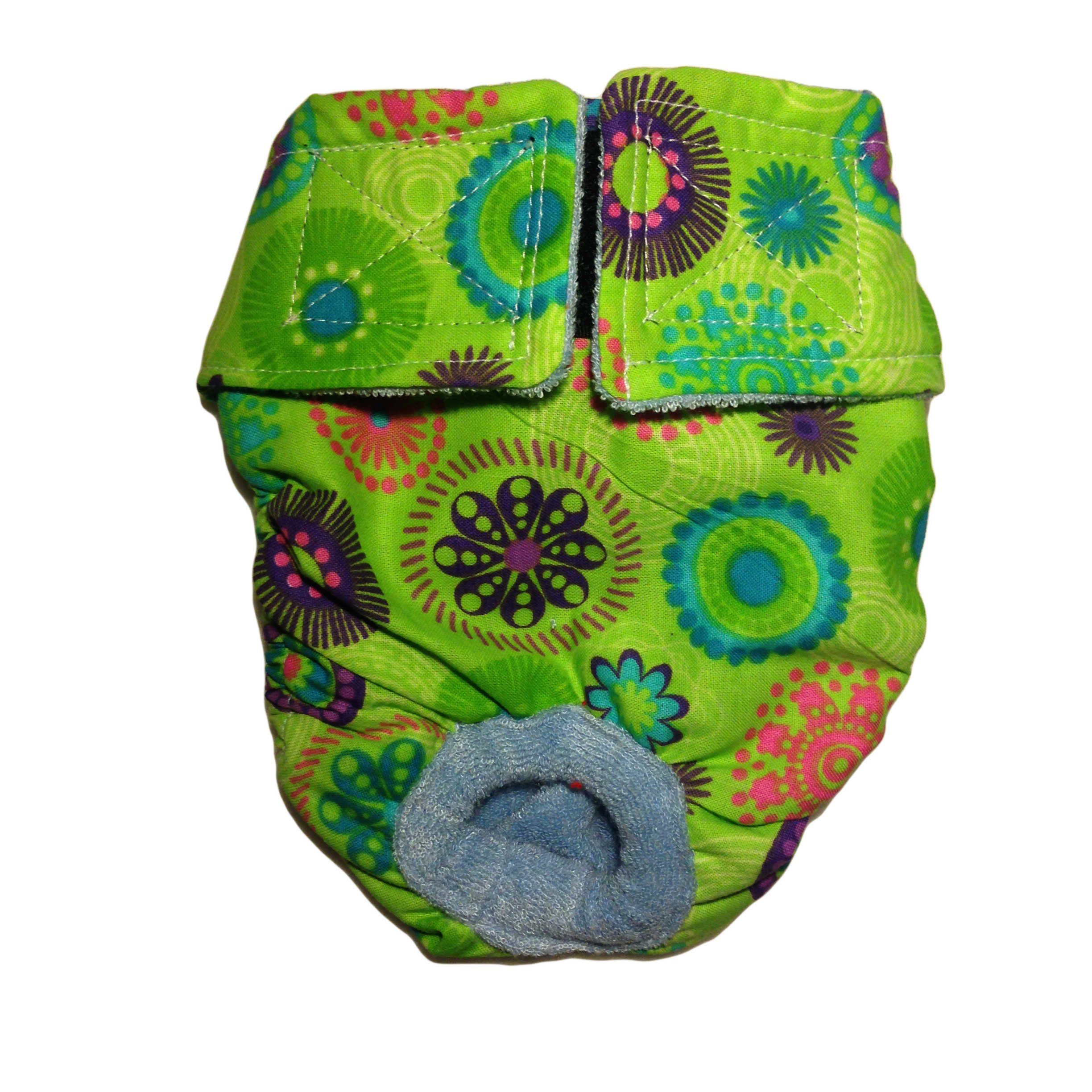 Dog Diapers Made in USA Green Kiwi Flower Washable Dog