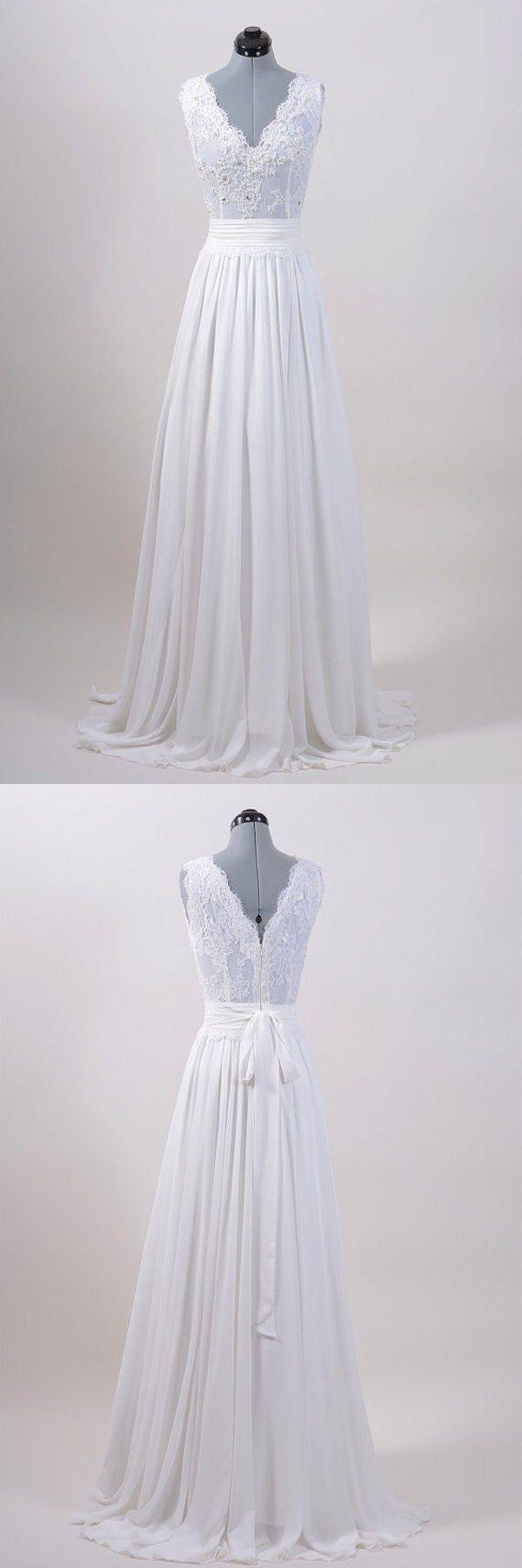 Exquisites a-line bodenlangen Chiffon Brautkleid mit Applikationen – Hochzeitskleid