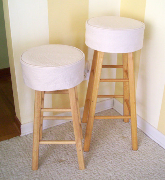 One 13 14 Or 15 Inch Diameter Bar Stool Slipcover With A 2 Inch Foam And Batting Cushion Insert The Self Lin Bar Stool Slipcovers Bar Stools Round Bar Stools