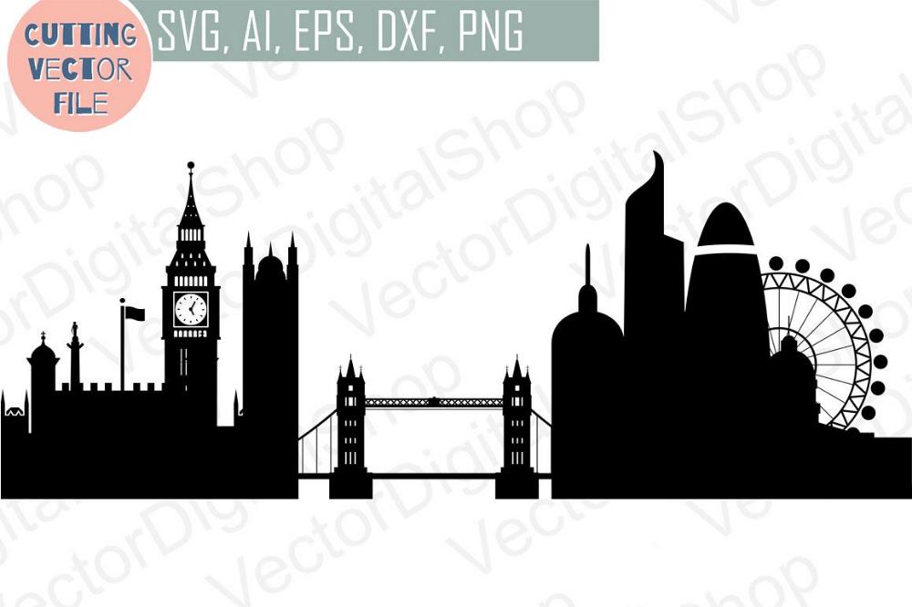 London Skyline Vector England City Svg Jpg Png Dwg Cdr Eps Ai 42321 Illustrations Design Bundles London Skyline Svg City Vector