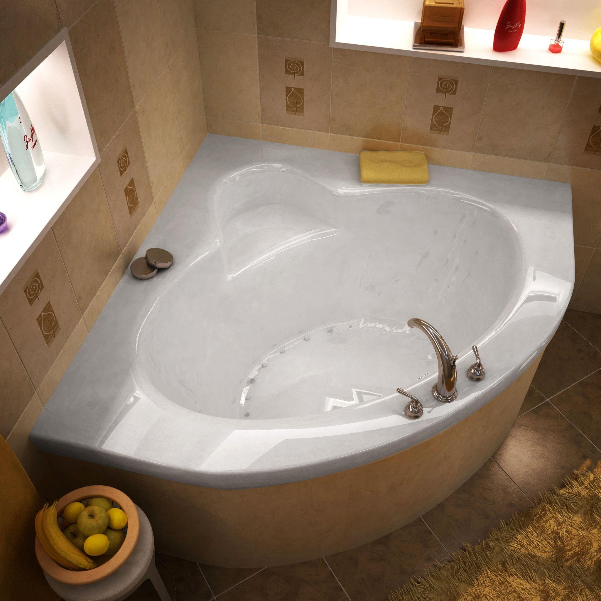 Venzi VZ6060AAL Esta 60 x 60 Corner Air Jetted Bathtub with Center ...