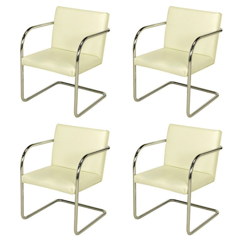 four thonet chrome u0026 white cantilever dining chairs modern dining room