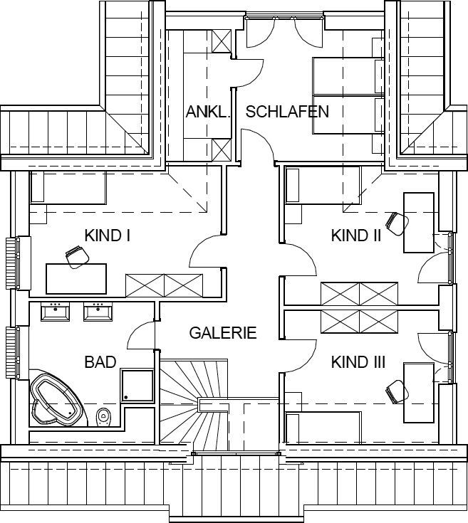 landhaus grundriss dachgeschoss mit 73 21 m wohnfl che 3 kinderzimmern und schlafzimmer mit. Black Bedroom Furniture Sets. Home Design Ideas