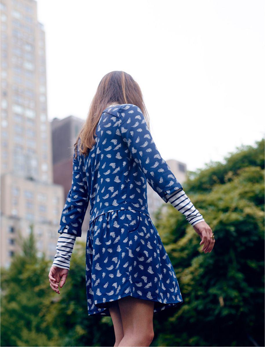 426aadeccb madewell et sézane® silk anna drop-waist dress worn with the whisper cotton  turtleneck.