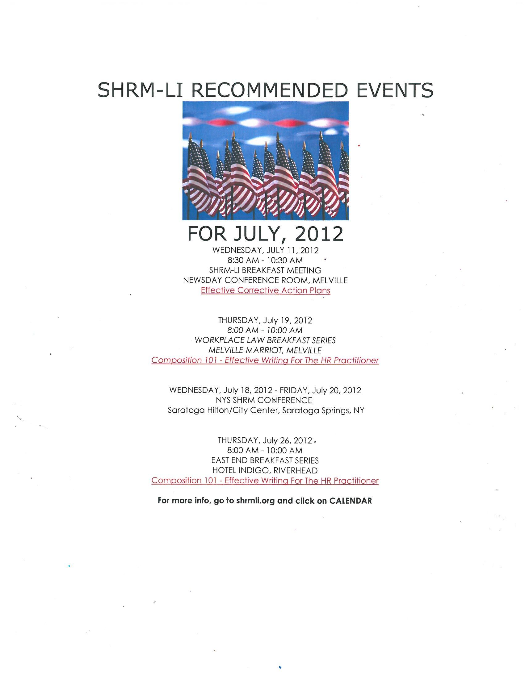 Upcoming Events In July July   Effective Corrective Action