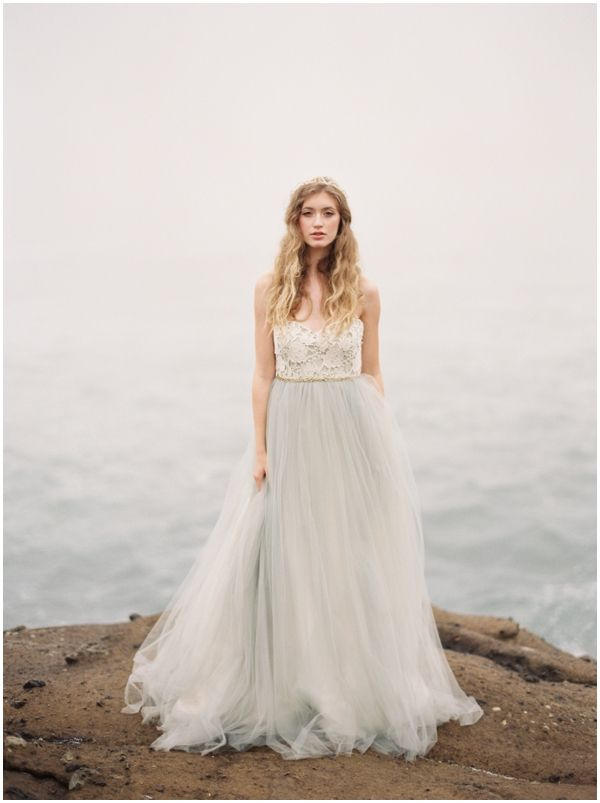 Halo gown by Elizabeth Dye in glacier (light blue/grey) $3,500.00 \