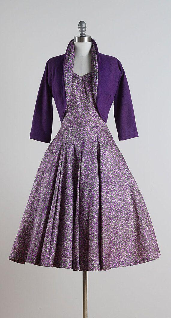 Lilac Monet . vintage 1950s dress . vintage dress & jacket . 4977 ...