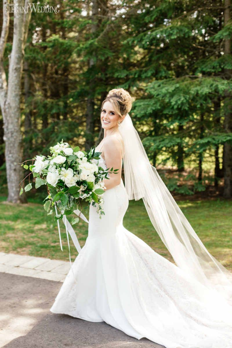 Neutral u elegant outdoor wedding greenery bridal bouquets and