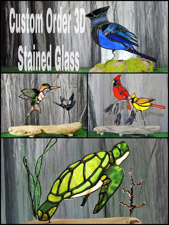 Stained Glass Birds 3D Animal Art. Stained Glass Birds