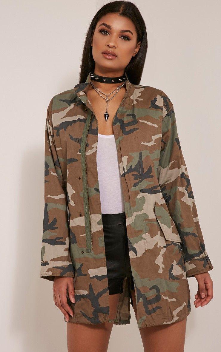 6e6d6d98 Edita Khaki Camouflage Shacket | WARDROBE✨ | Camouflage tops, Camo ...