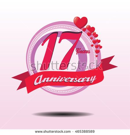 17 years lovely anniversary logo with pink circle composition and red heart icon