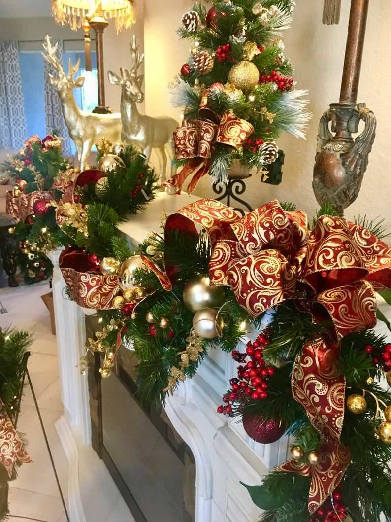 4 Pc Set Christmas Wreath Garland Burgundy Ribbons Free Shipping Cordless Pre Lit Original Christmas Tree Inspiration Indoor Christmas Decorations Christmas Door Decorations