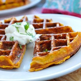 Cheesy Sweet Potato Waffles w/ Sour Cream & Maple - for Thanksgiving brunch or a quick brunch, lunch or supper any time of year.