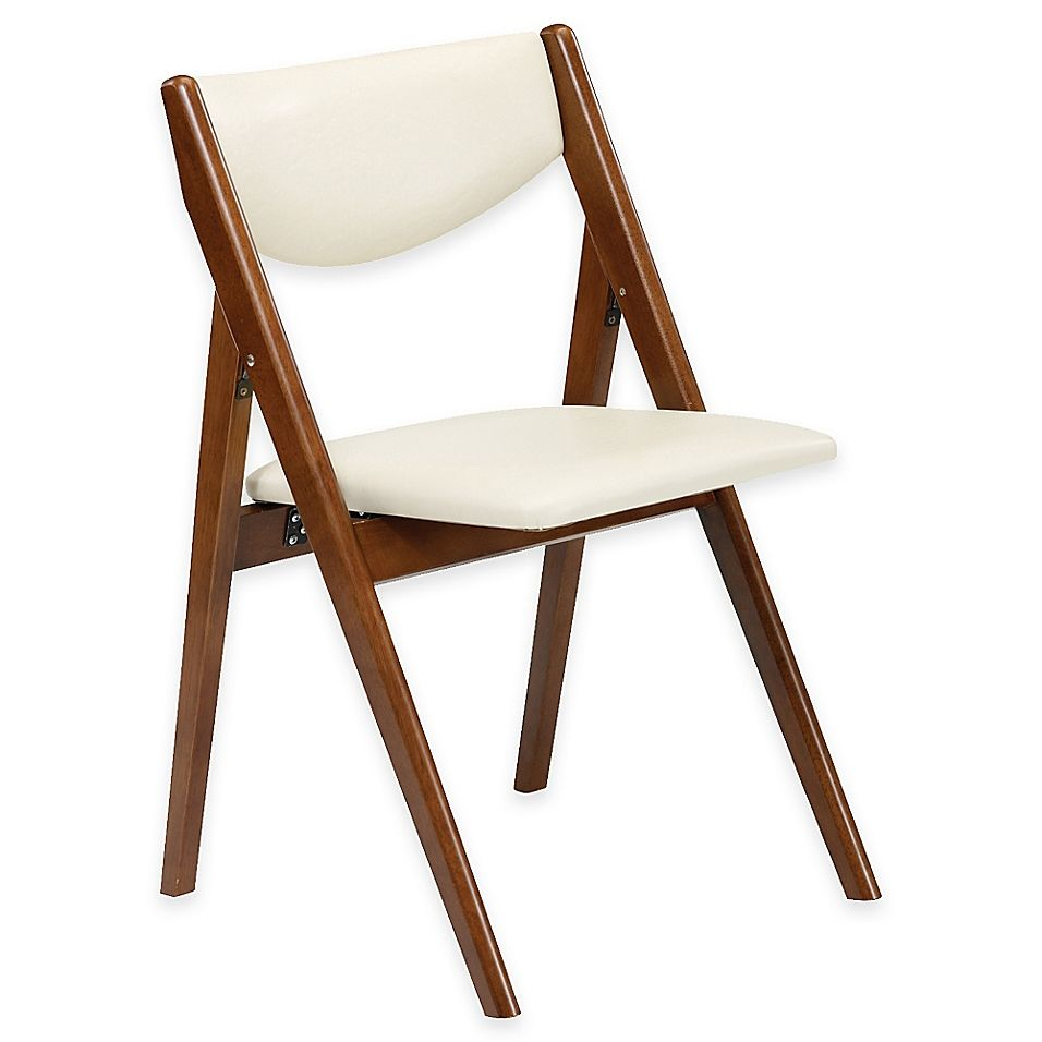 A Frame Wood Folding Chair In Fruitwood Off White Set Of 2