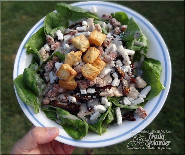 True's Chicken Spinach Salad with Blueberry Poppy Seed Dressing. Also contains sugared almonds, goat cheese, sliced dates, and seasoned croutons. Mmmm nummm yummy!