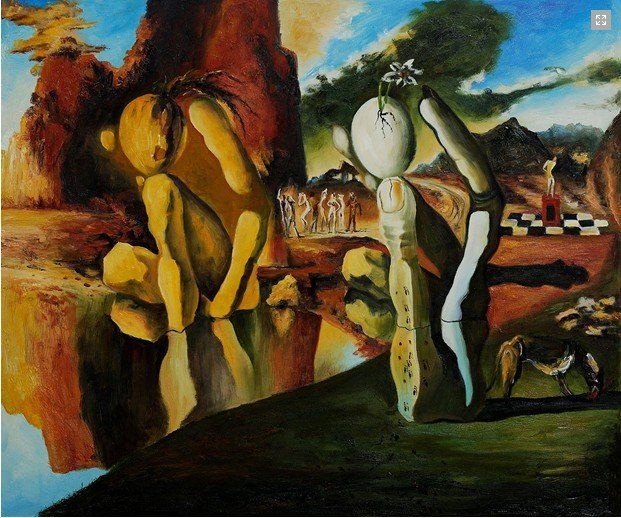 The Metamorphosis of Narcissus - Salvador Dali | Dali paintings, Illusion paintings, Metamorphosis of narcissus