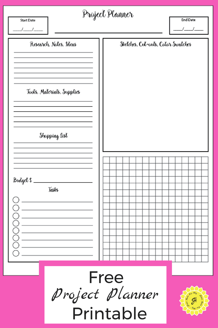 Project Planner Free Printable Pdf For All Types Of Projects