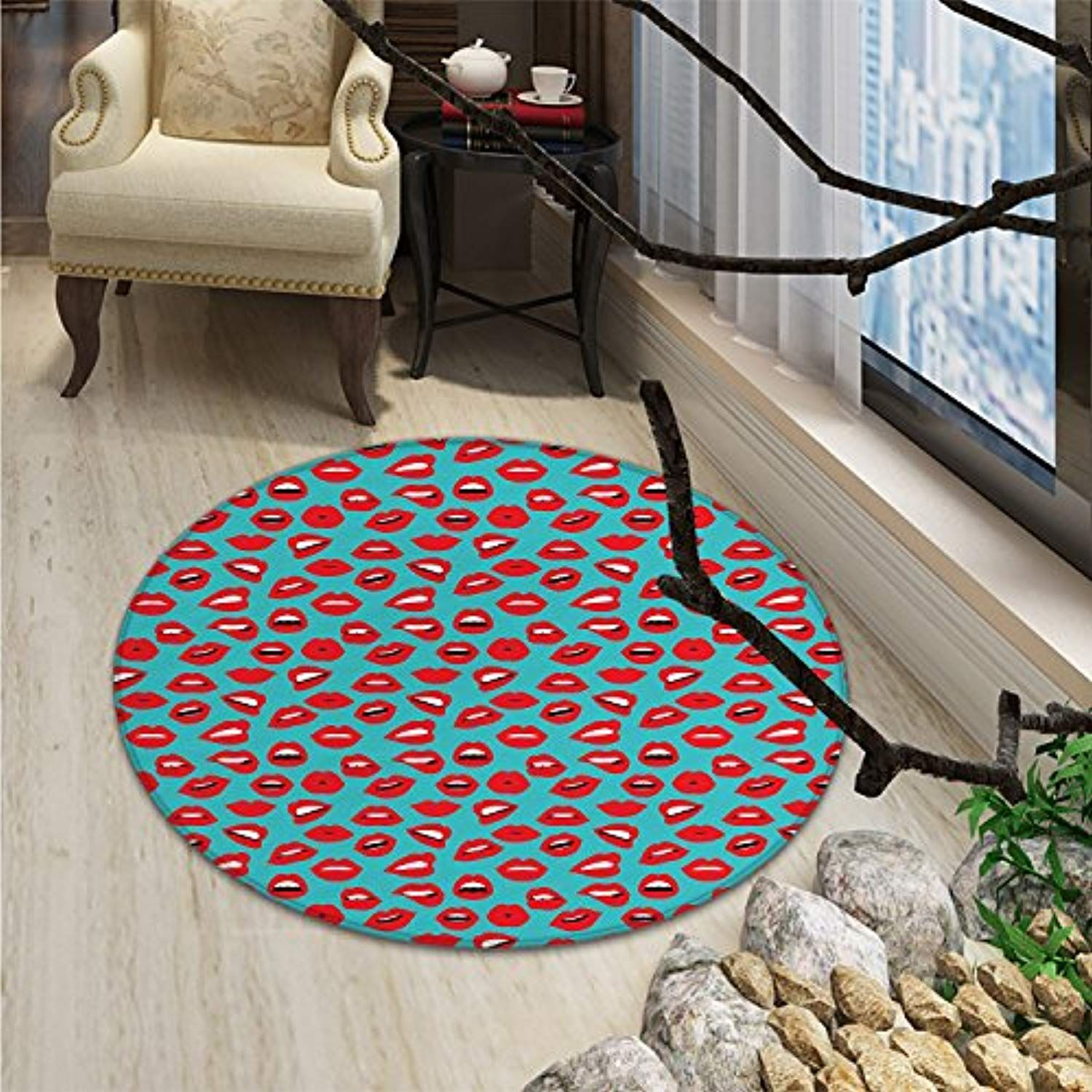 Kiss Round Rugs For Bedroom Retro Woman Mouth Red Lipstick Girl