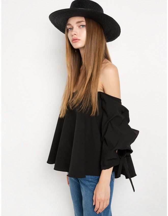 97e0c60258b3f5 Black Off The Shoulder Balloon Sleeve Top