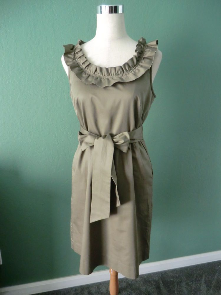 NEW 110$ J.CREW OLIVE GREEN 100% COTTON RUFFLED TOP BELTED DRESS SIZE 6 #JCrew #Casual