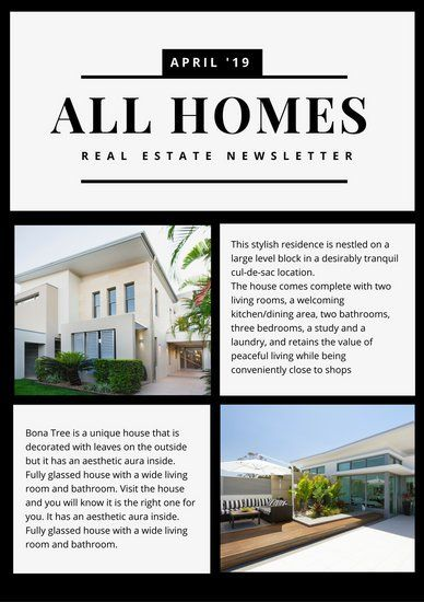 Black Bordered Collage Real Estate Newsletter  Newsletter