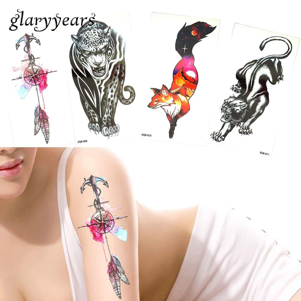 designs piece temporary flower arm tattoo sticker fox