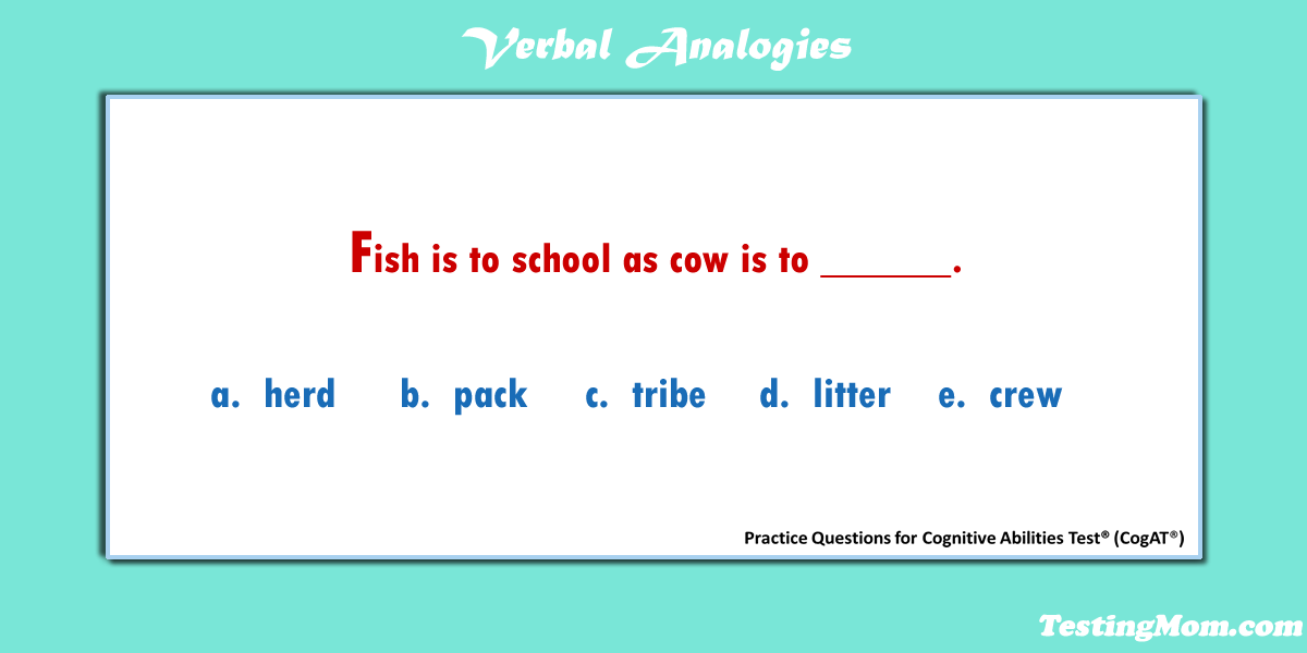 Can your child solve this verbal analogy practice question for the #CogAT?