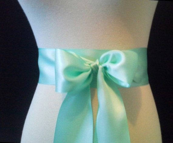 Mint satin sash. 1.5 or 2.5 inch wide.  mint by SashesEtcetera