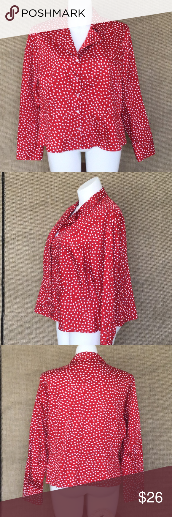 ed83ca3a6fa95 Rockabilly Red polka dot peplum blouse VLV Minnie 100% cotton blouse in our  favorite Minnie