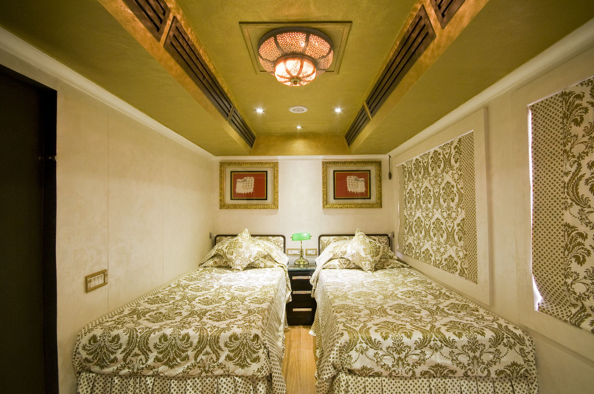 A bedroom on the Royal Rajasthan on Wheels