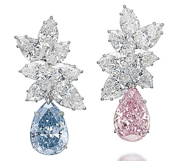 A pair of coloured diamond ear pendants, set with pear-shaped diamonds in Fancy blue and Vivid pink, achieved the second highest price at Christie's Magnificent Jewels Sale in Geneva, selling to Laurence Graff for $15.82 million
