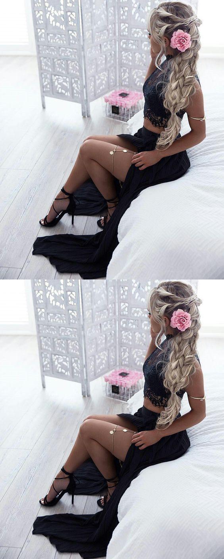 Sexy black prom dresssexy two piece prom dressblack prom evening