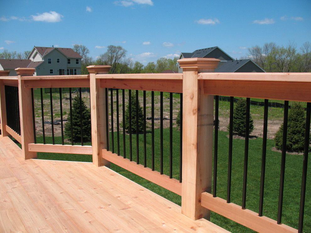 Beau 6x6 Cedar Post Deck Traditional With Cedar Deck Railings Decks