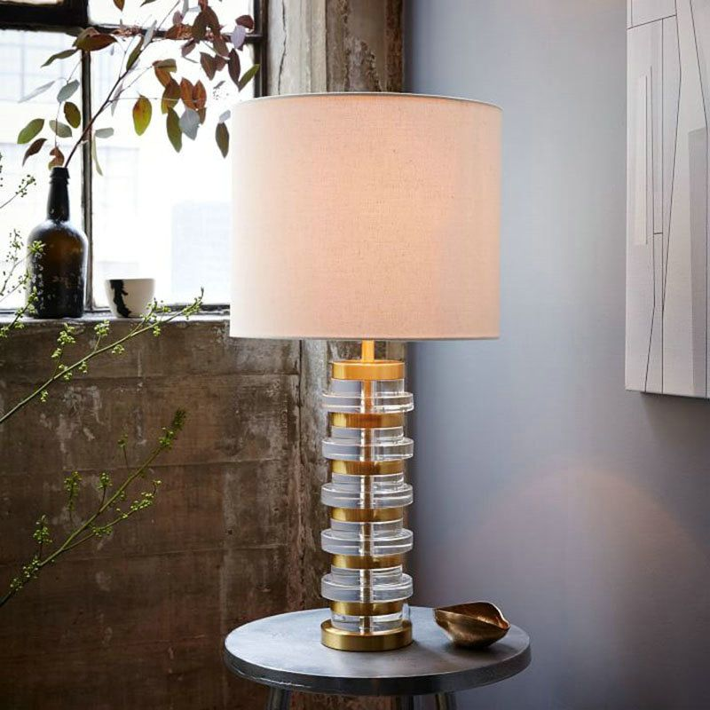 Tischleuchte Modern Aus Eisen Kristall Mit Stoffschirm 1 Flammig Table Lamp Modern Table Lamp Decorative Table Lamps