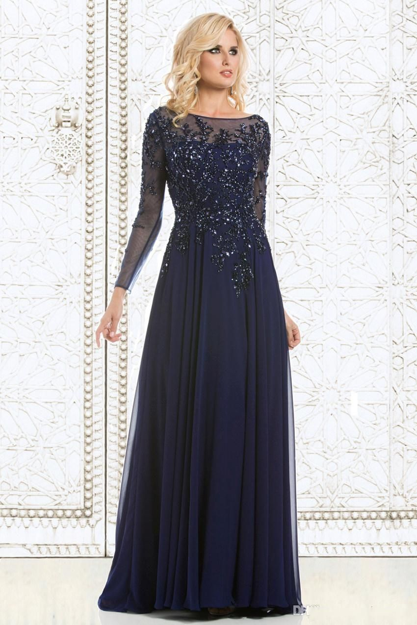 6405e76897466 2015 Navy Blue Elegant Mother Of The Bride Dresses Sequined Appliqued  Chiffon Long Evening Gowns Sheer Long Sleeves Formal Gowns Cheap DH
