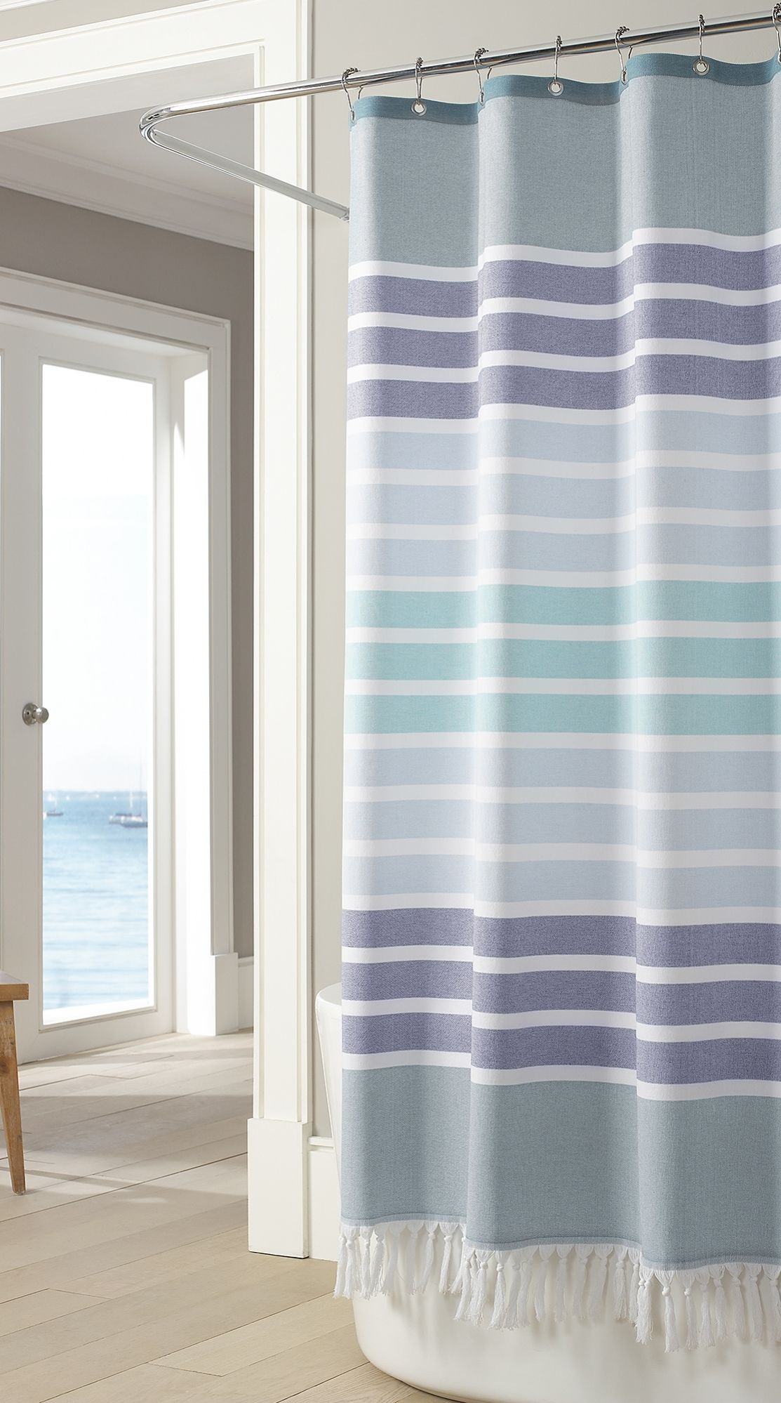 The Coastal Inspired Touches Of Our Bodrum Shower Curtain