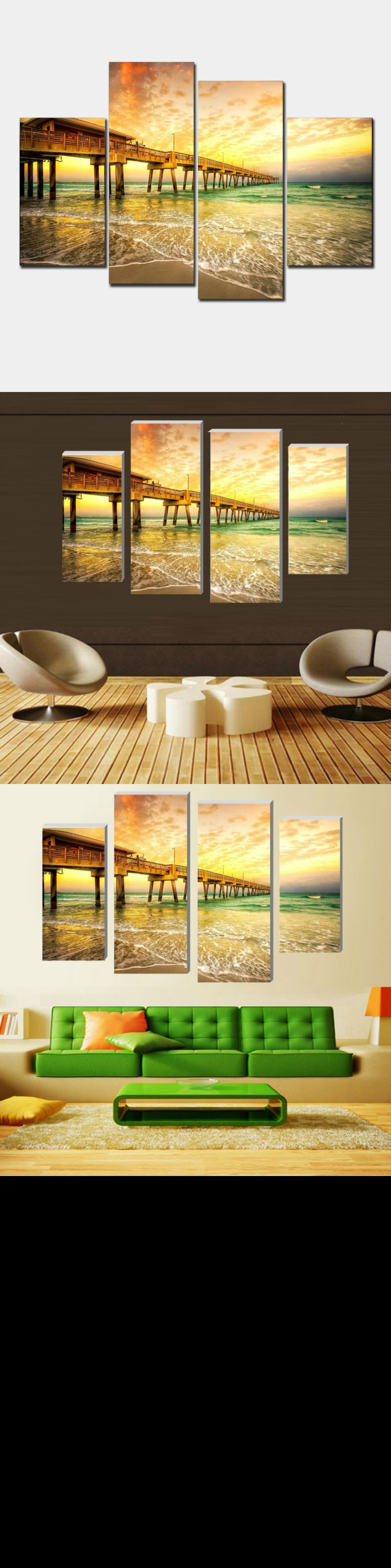 Modular pictures seaside pier wall art picture living room or
