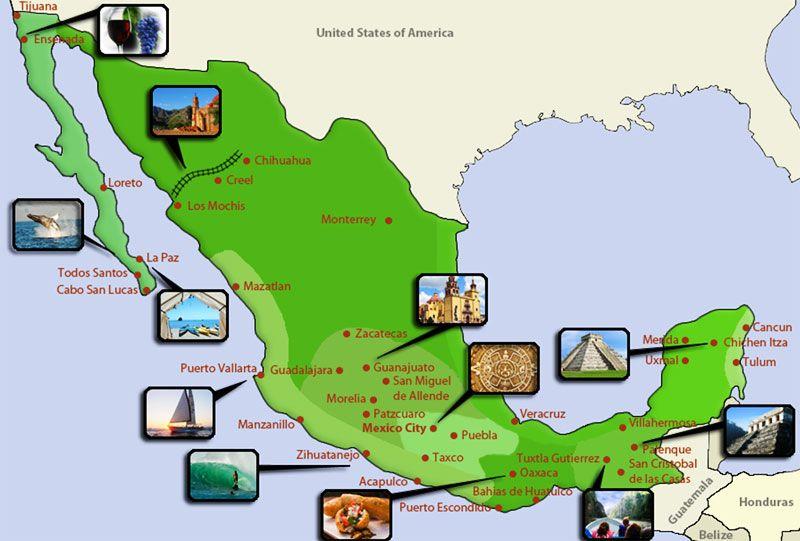 Mexico Tourist Map Pinterest: Mexico Tourist Map At Infoasik.co