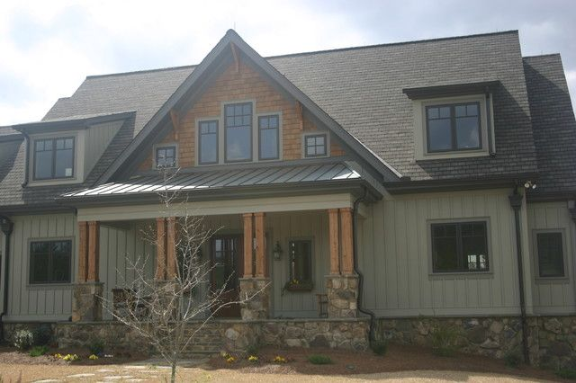 board and batten siding with stone Google Search Maison