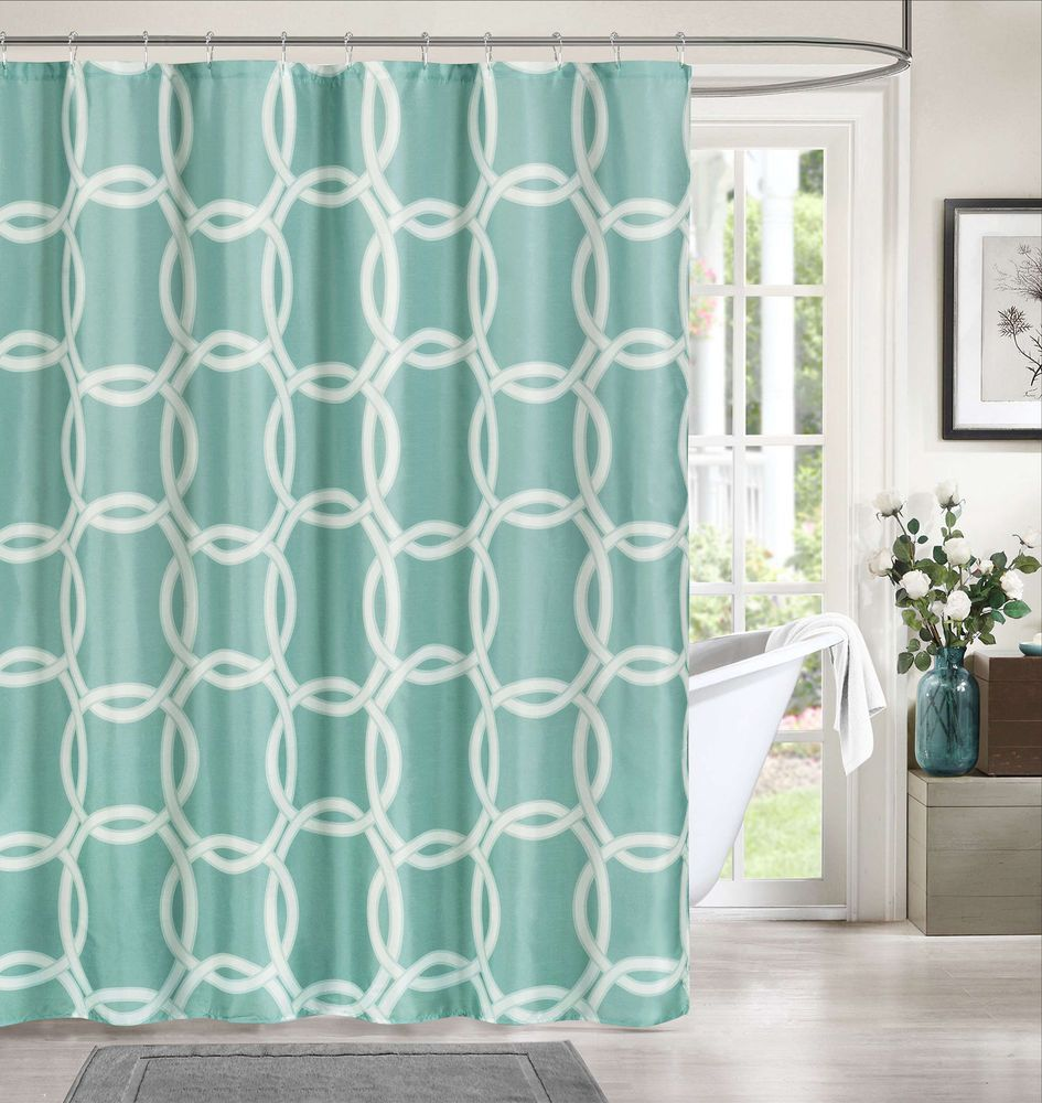 Geometric Waterproof Shower Curtain Set With 12 Hooks