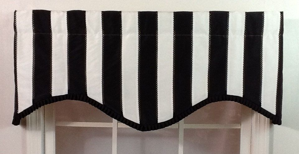 Black And White Striped Shaped Valance With Black Pleated French Pleated  Ribbon Trim. $49.99,