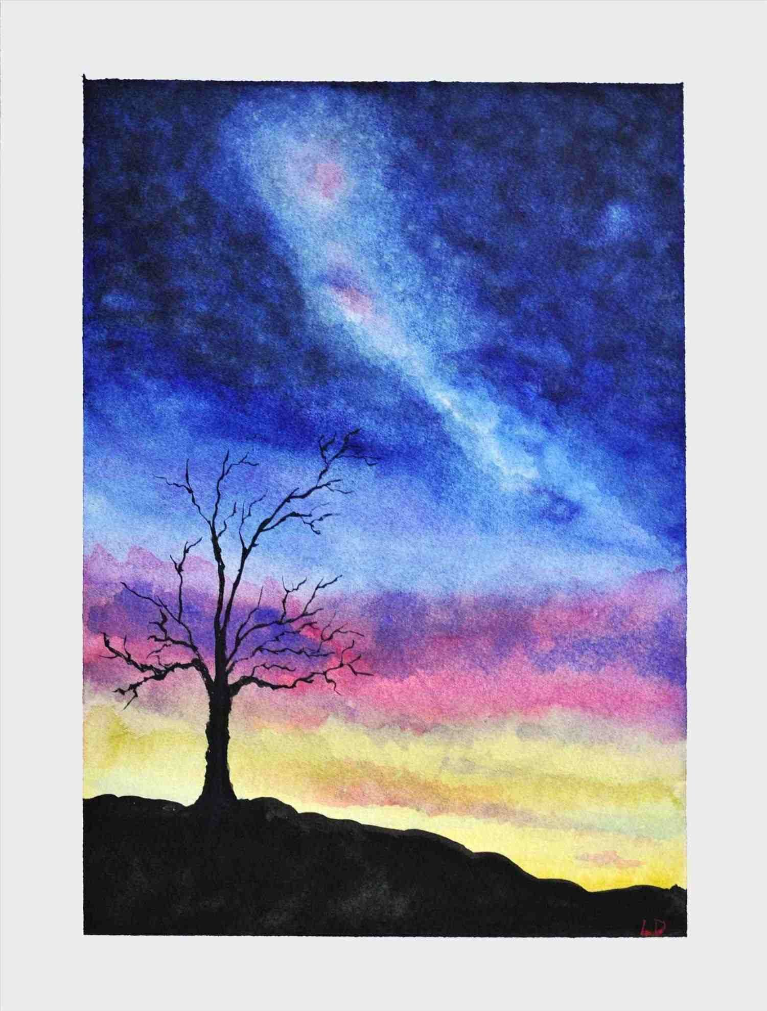 Famous Art Paintings Easy Watercolor Sunset Watercolor