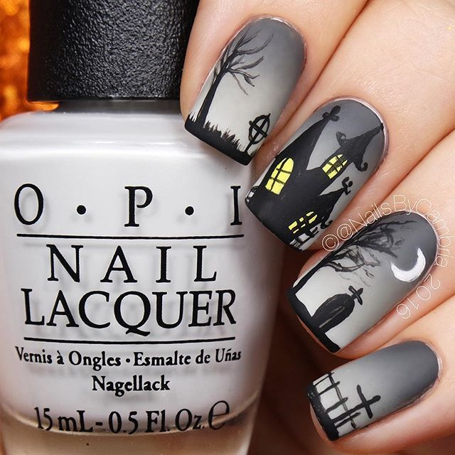 WEBSTA @ nailsbycambria - Happy Friday! Haunted house nails today! Tutorial will be up tomorrow morning. @opi_products I Cannoli Wear OPI and Matte Top Coat@myblisskiss Simply Peel@chinaglazeofficial Recycle and Concrete Catwalk@whatsupnails Dance 19
