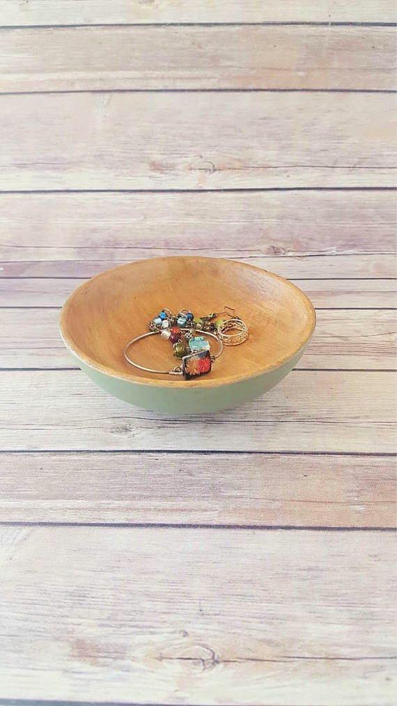 Wooden Decorative Bowls Green Wooden Bowl  Wood Bowl  Wood Decorative Bowl  Green Fruit