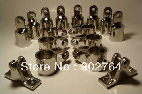 """4 Bow Bimini Top Stainless Steel Fittings Marine Hardware Set 7//8/"""" top quality"""