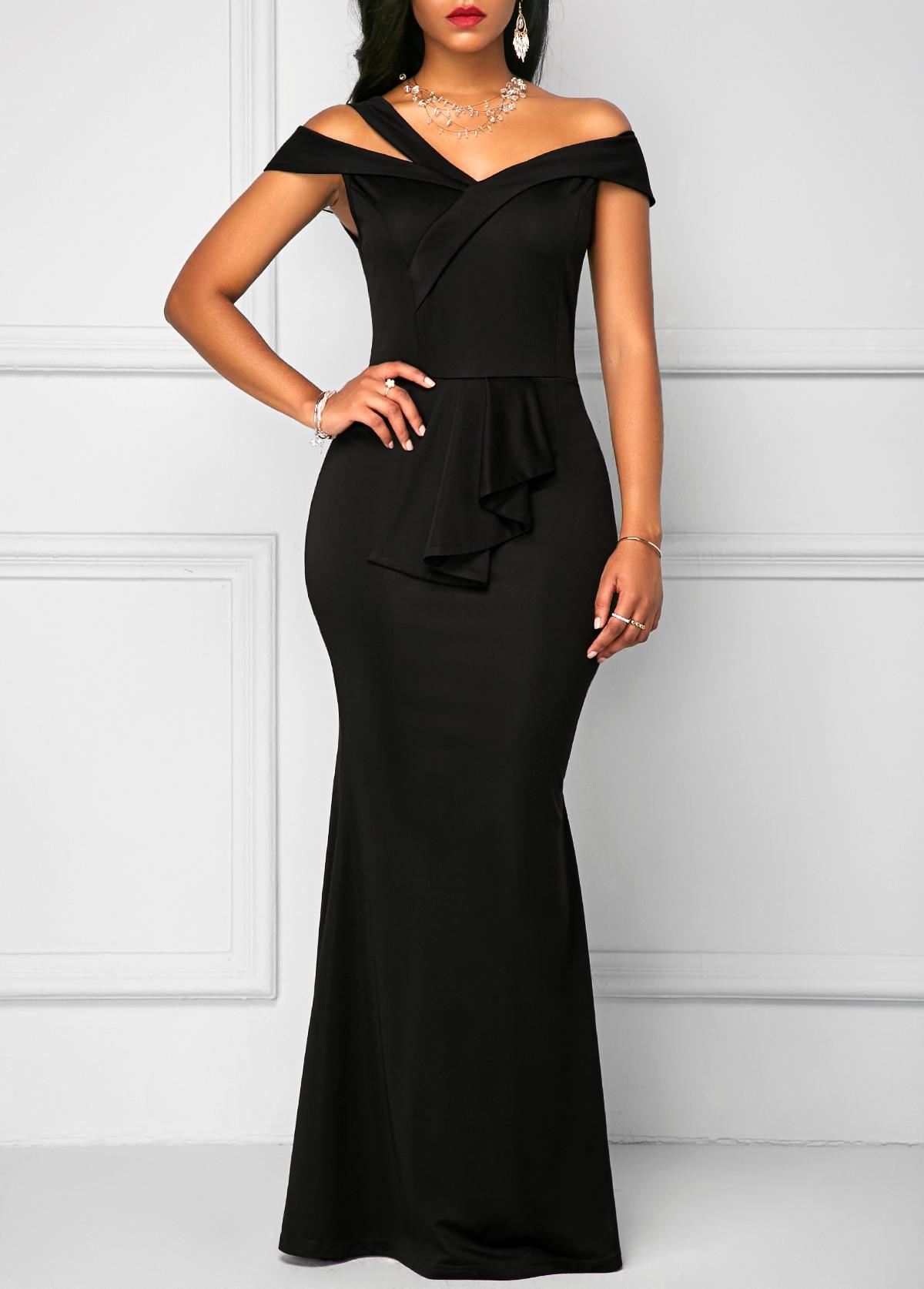 Zipper back black high waist maxi dress maxi dresses chic dress