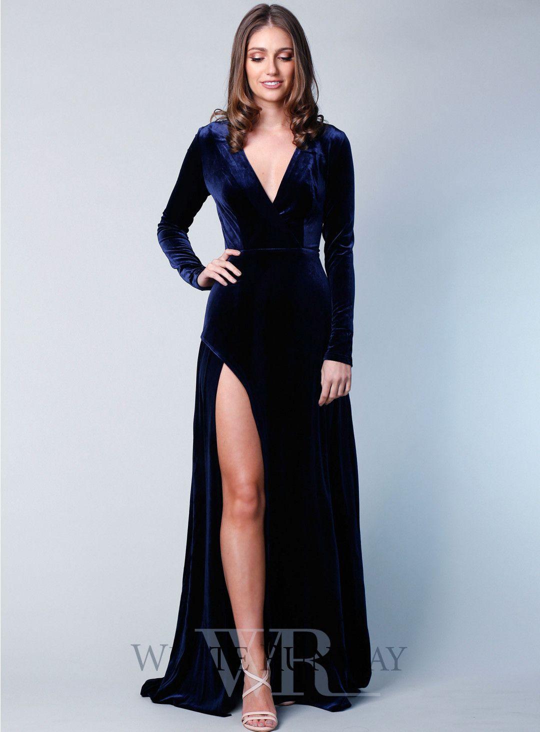 Fontaine Gown | NAVY WEDDING | Pinterest | Velvet gown, Full length ...