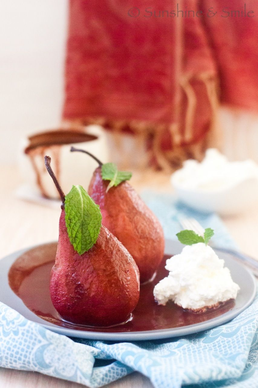 Wine Poached Pear With Chocolate And Mint Sauce Recipe Wine Poached Pears Mint Sauce Poached Pears