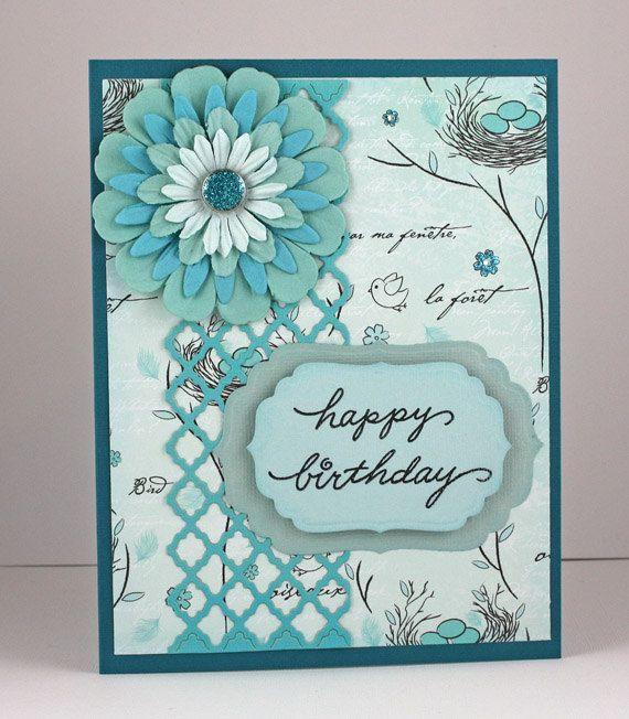 Birthday Card Handmade Card Aqua Turquoise Flower Feminine