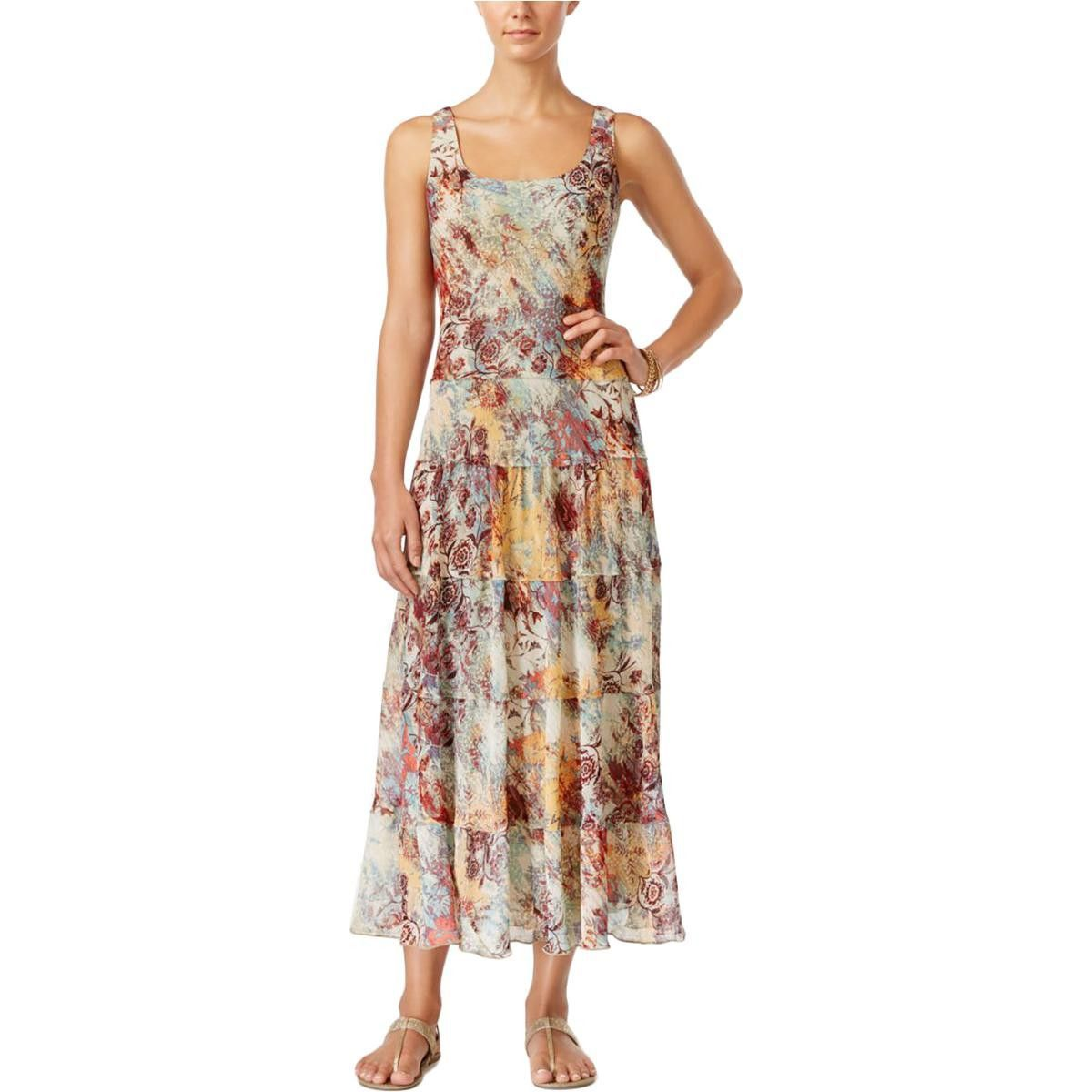 b5866f4022e Nine West Womens Sleeveless Printed Maxi Dress
